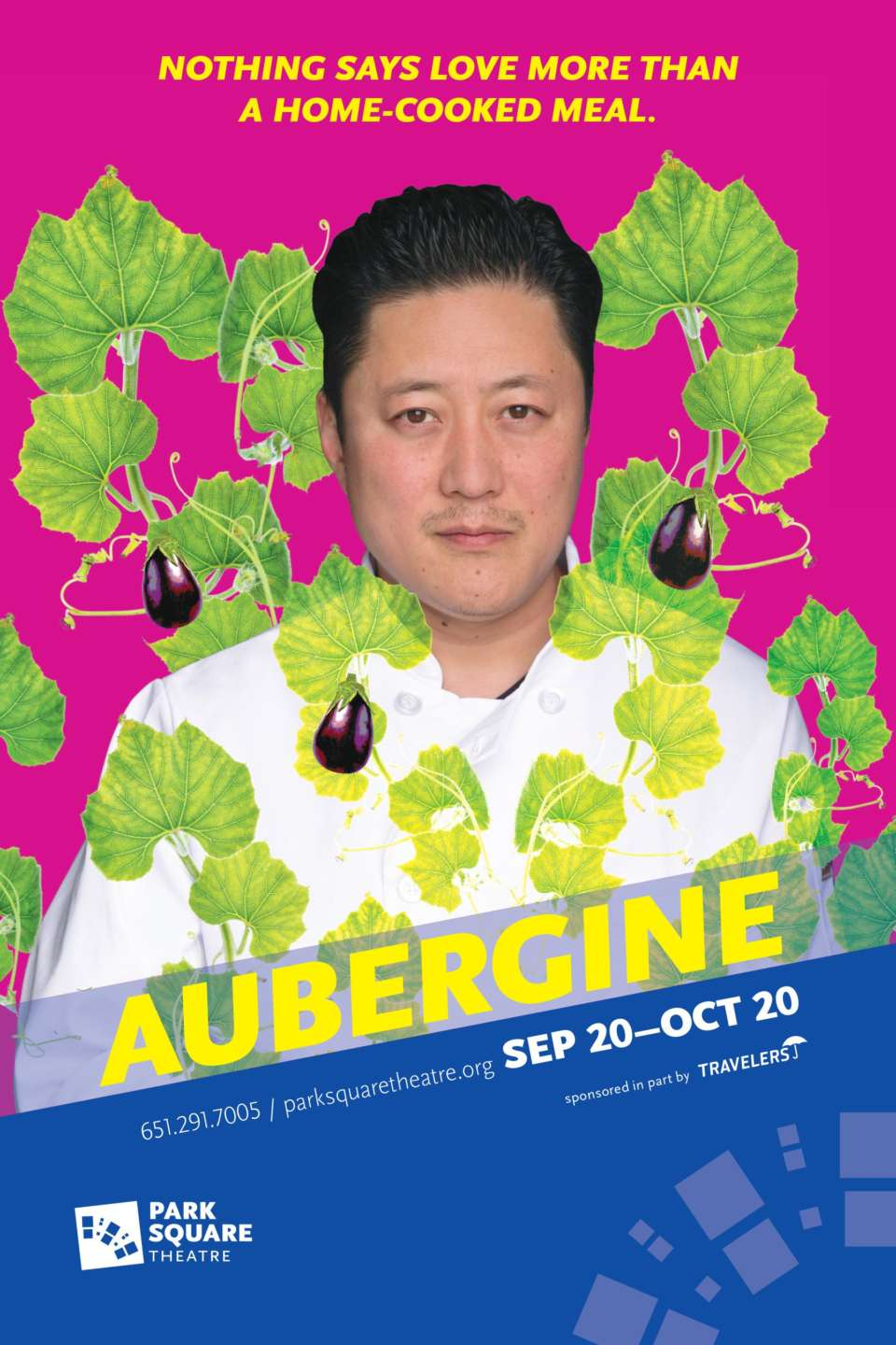 "Picture of a man in a chef jacket surrounded by vines and eggplants. Heading says ""Nothing says love like a home-cooked meal."""
