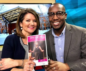 Jamil Jude with Alix Kendall on The BUZZ - Fox 9 to promote Nina Simone: Four Women at Park Square Theatre until March 5 (photo by Connie Shaver)
