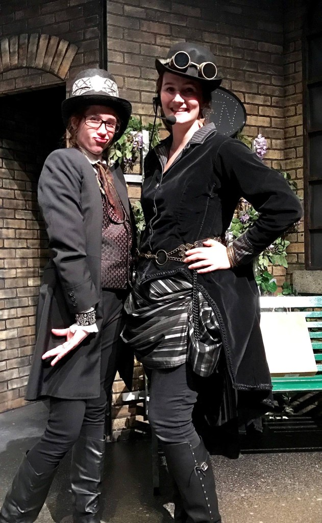 "The backstage ""Steampunk Fairies"" of Sam Diekman and Rachel Lantow, get to join in on the fun with their own costumes."