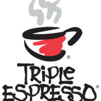 logo for Triple Espresso - stylized coffee cup and hand drawn type in black, red, and grey on white background
