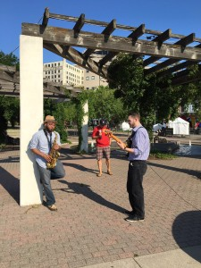 Adrian and his band member warm up before an early morning Twin Cities Jazz Fest segment with Todd Walker on FOX 9 last June. Photograph by W. Shaver