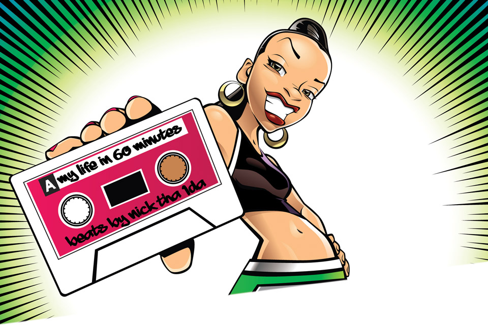 Cartoon style graphic with cassette tape in foreground being held at arm's end by young woman wearing midriff sports top