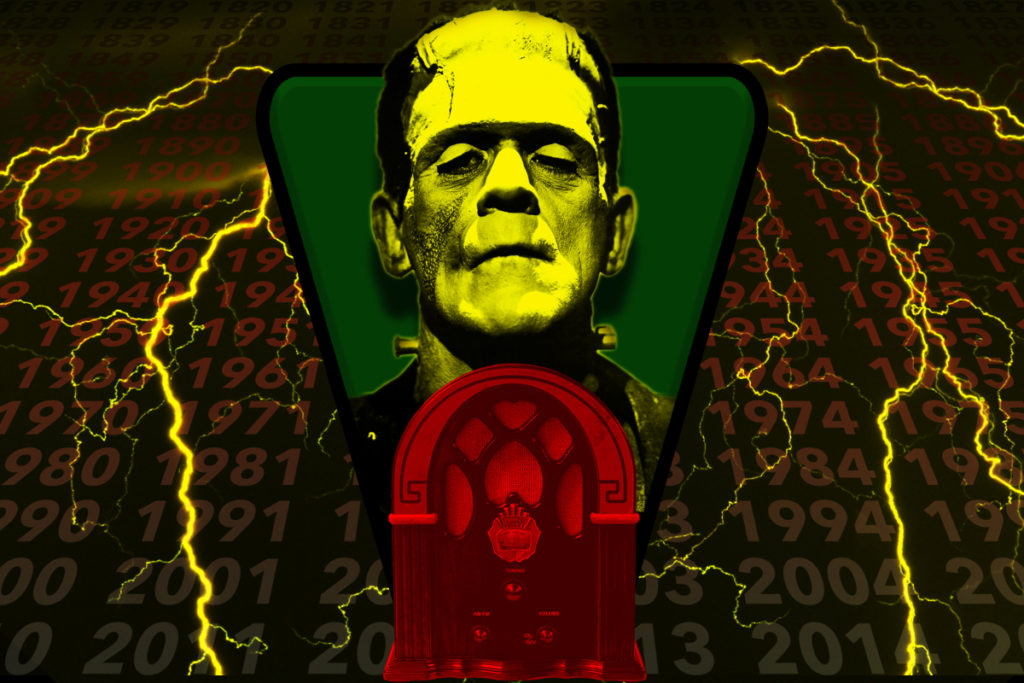 A vintage radio with the dial replace by an image of Frankenstein's monster.