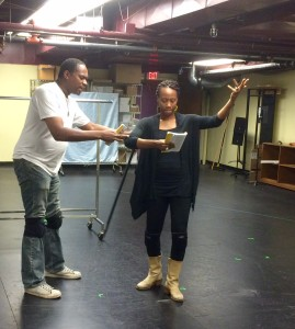 Rex Isom Jr. with Sha' Cage in a rehearsal. (Photograph by Connie Shaver)