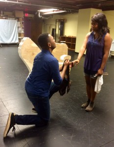 India Gurley with JuCoby Johnson in a rehearsal. (Photograph by Connie Shaver)