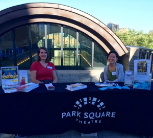 "Marketing Coordinator Alicia Pedersen and Mina Kobayashi promote Park Square Theatre at Minnesota History Center's ""Nine Nights of Music"""