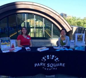 "Marketing Coordinator Alicia Pedersen and Mina Kobayashi promote Park Square Theatre at Minnesota History Center's ""Nine Nights of Music"""