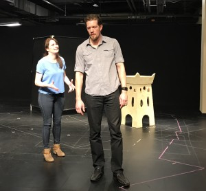 Michael Ooms with Vanessa Wasche in a rehearsal for Macbeth (Photo by Connie Shaver)