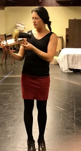 Kathryn Fumie as Eliza in rehearsal (photo by Connie Shaver)