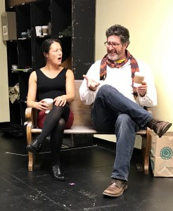 Kathryn Fumie (Eliza) and Adam Whisner (Merrick) in a rehearsal (Photo by Connie Shaver)