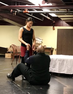 Kathryn Fumie as Eliza and H. Adam Harris as Watson in rehearsal (photo by Connie Shaver)