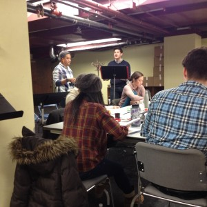 First rehearsal for Flower Drum Song: Eric 'Pogi' Sumangil and Wesley Mouri singing; Meghan Kreidler seated Photography by T. T. Cheng