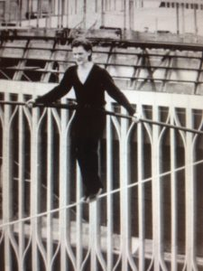 Philippe Petit laying down