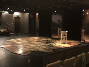 Macbeth set construction on the Boss Thrust stage