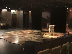 Macbeth set construction on the Boss Thrust stage