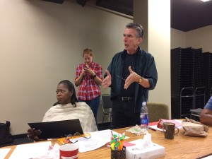 Robert Gardner as Lindner in a rehearsal with Greta Oglesby, who plays Mama Photograph by Connie Shaver