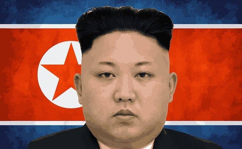 Stylized headshot of Kim Jong Un on backdrop of North Korea Flag red & blue with a red star in a circle