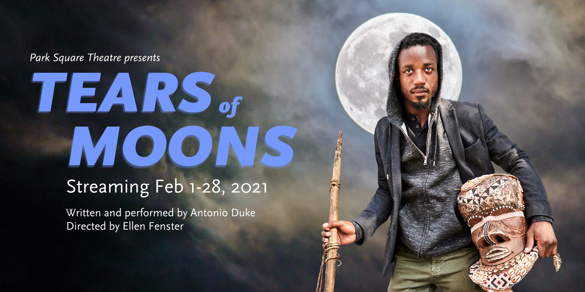 Tears of Moons. A black man in a grey hoodie. He is holding an African mask and has a full moon behind him.