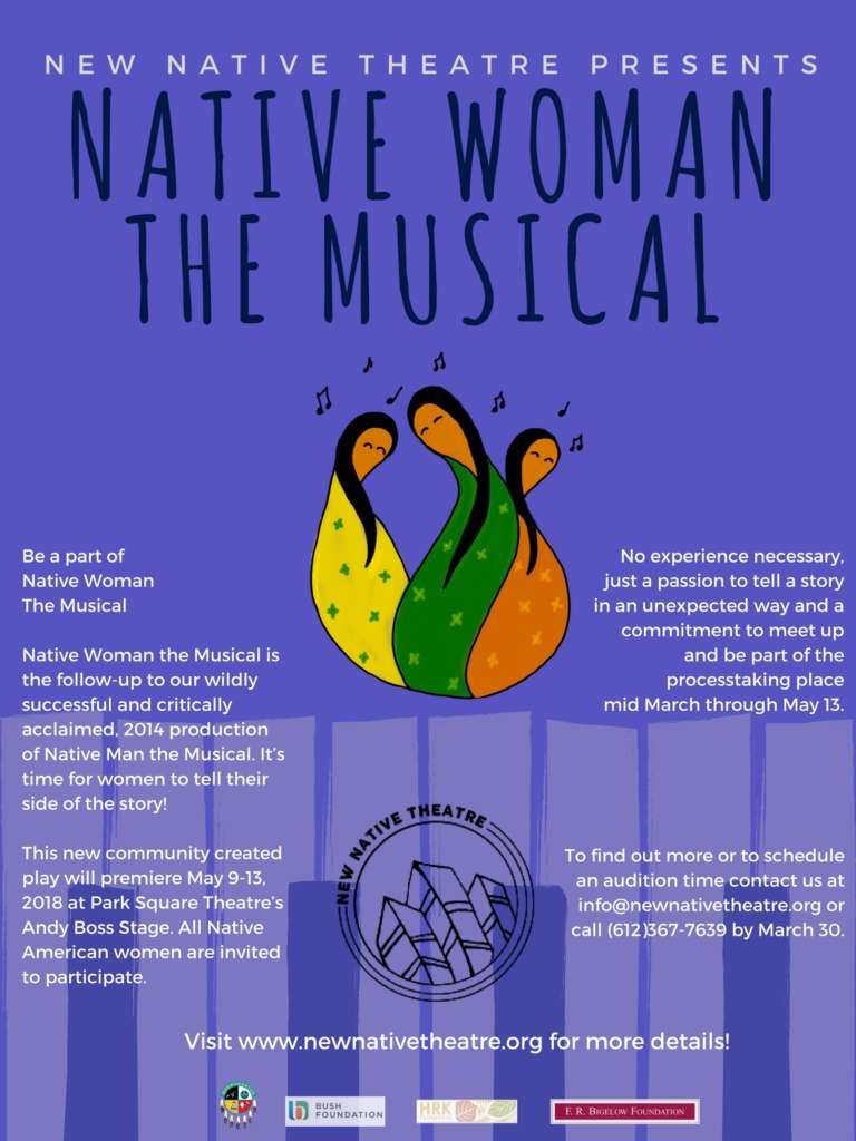 Poster Image for Native Woman the Musical - Purple Background with graphics of three Native Women and piano keys
