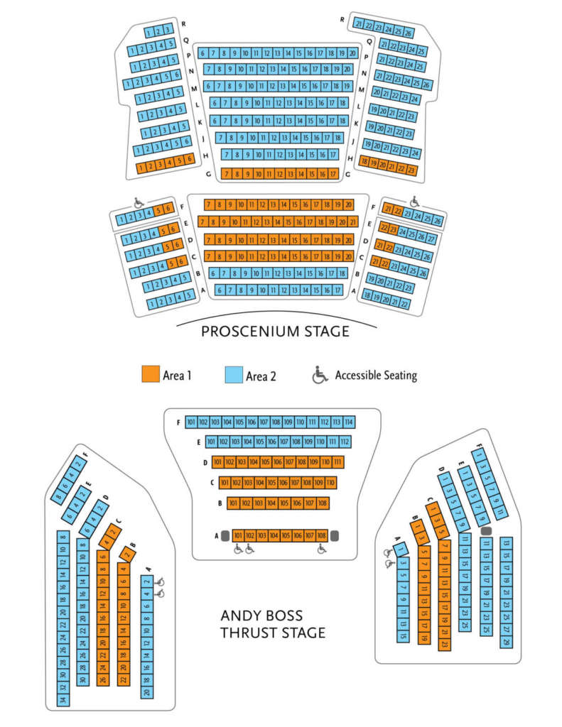 Graphic Seating Chart for Proscenium and Thrust Stages - Please phone the ticket office at 651.291.7005 for assistance with accessibility and seat selection