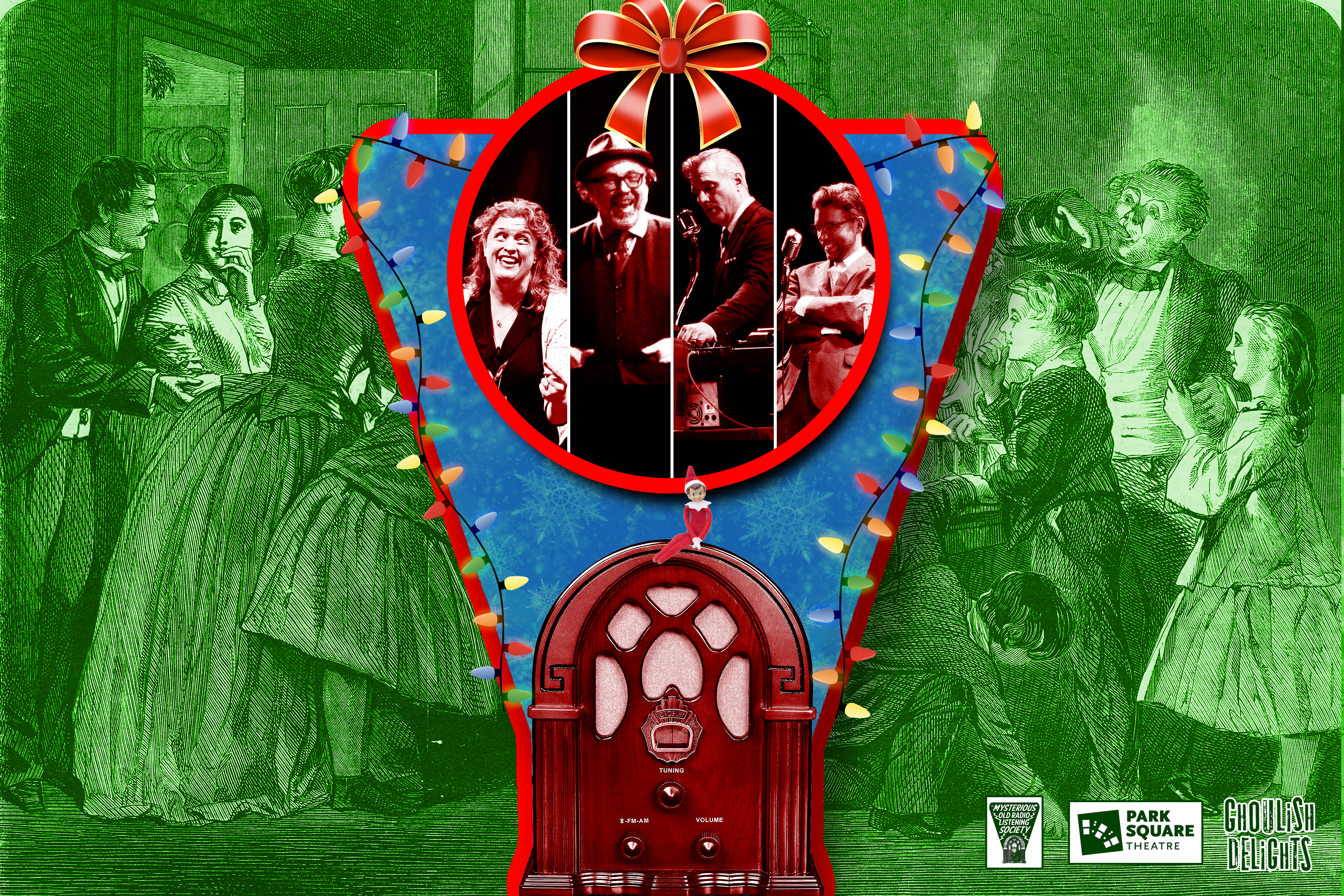 A vintage radio draped in multi-colored lights and a red bow. At the center are black and white photos of four radio performers. In the background is a victorian holiday scene.