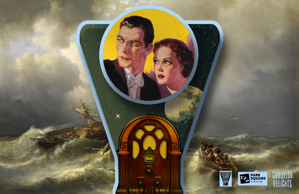 Image of a 1940s radio, the dial is replaced by a vintage picture of a couple looking distressed. In the background is a painting of a storm-tossed tall ship.