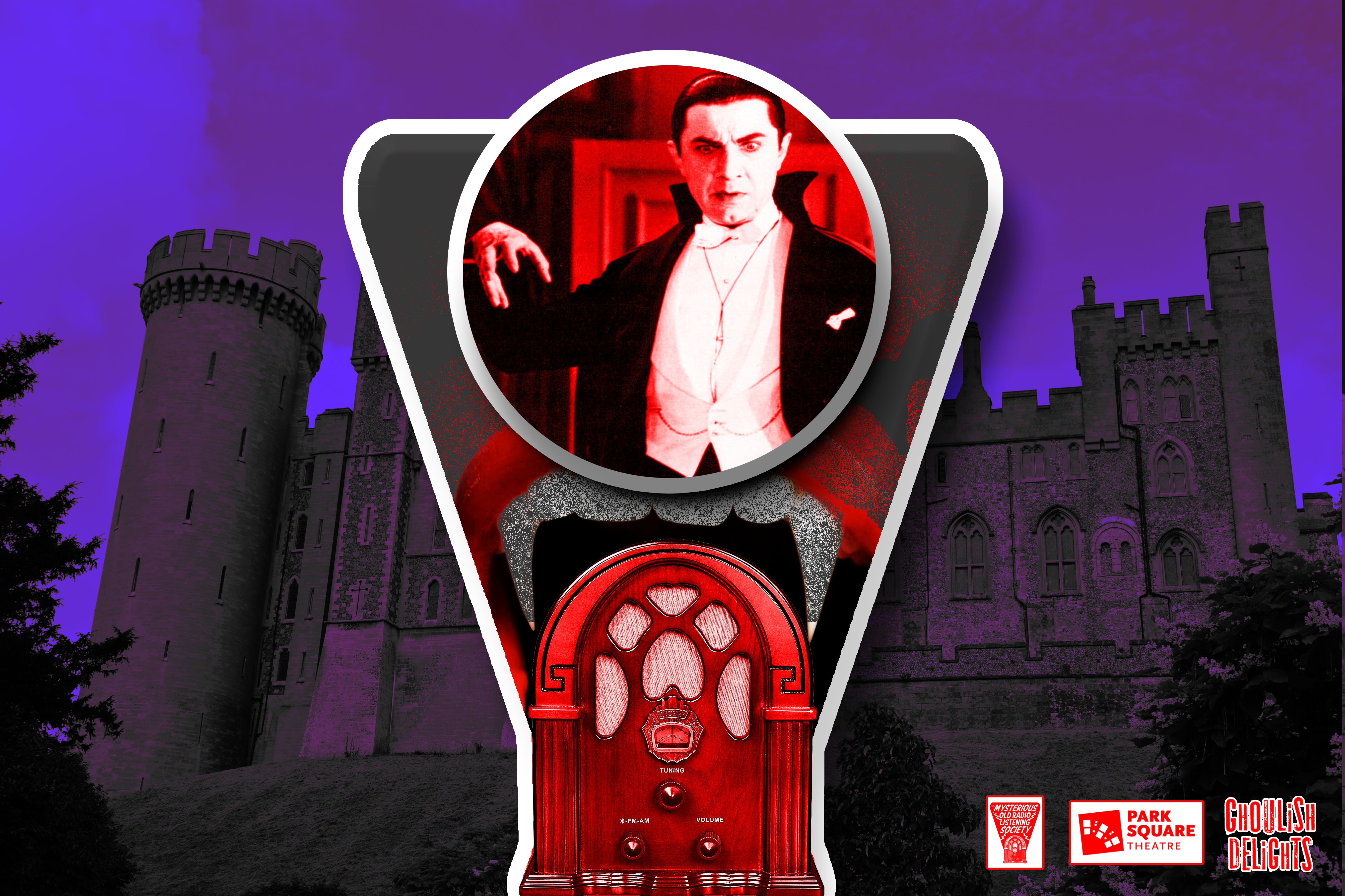 A vintage radio with the dial replace by an image of Dracula.