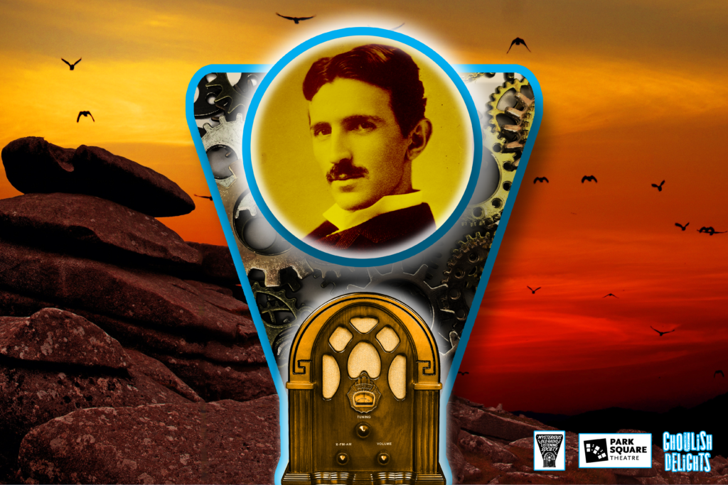 Picture of an vintage radio - the dial is replaced by a picture of Nikola Tesla and in the background is an otherworldly Martian landscape.