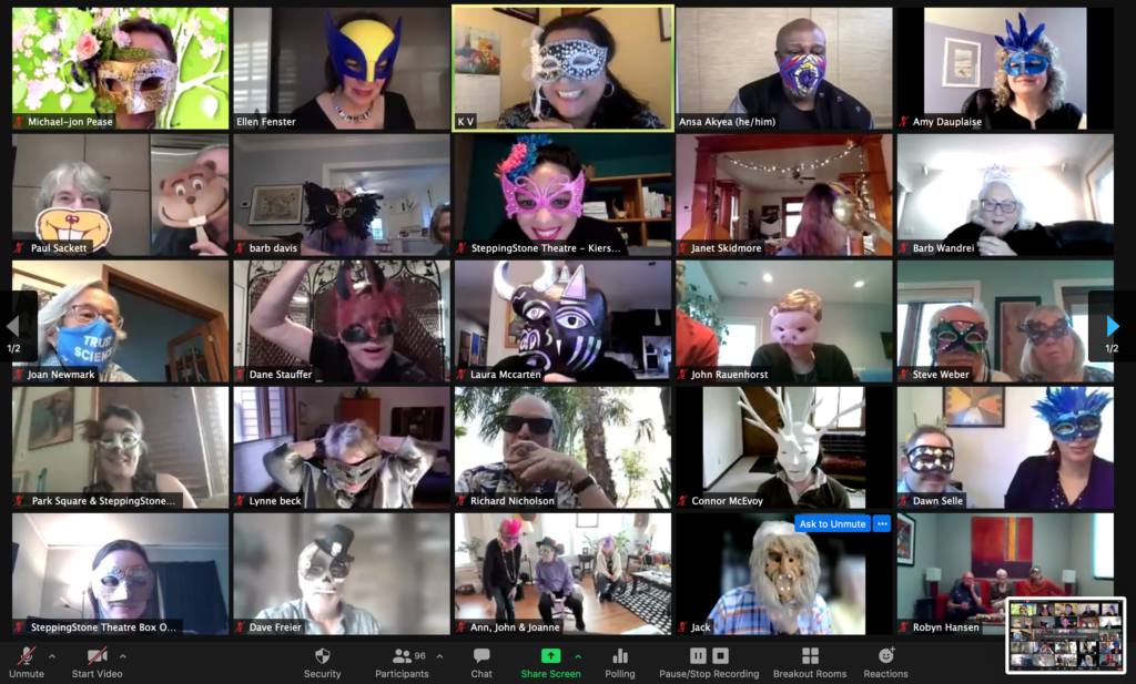 Zoom squares of people wearing festive masks