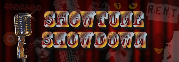 Graphic for Showtune Showdown - multicolored type and a silver microphone on burgundy curtain background
