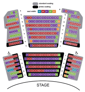 Proscenium Stage Seating Chart with Seath Widths