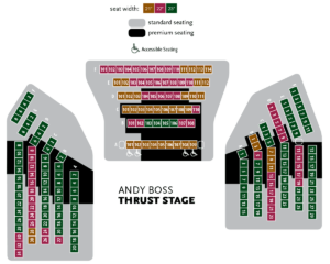 Andy Boss Thrust Stage Seating Chart with Seat Widths