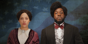 Actors portraying Susan B. Anthony and Frederick Douglass wearing period costumes on blue background with stars & stripes