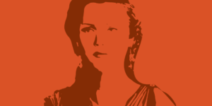 Illustration of Antigone character - drawing of woman in Greek style dress - dark brown lines on orange background