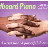Two hands joined on purple background - Graphic caption: Cardboard Piano - A secret love. A Powerful drama.