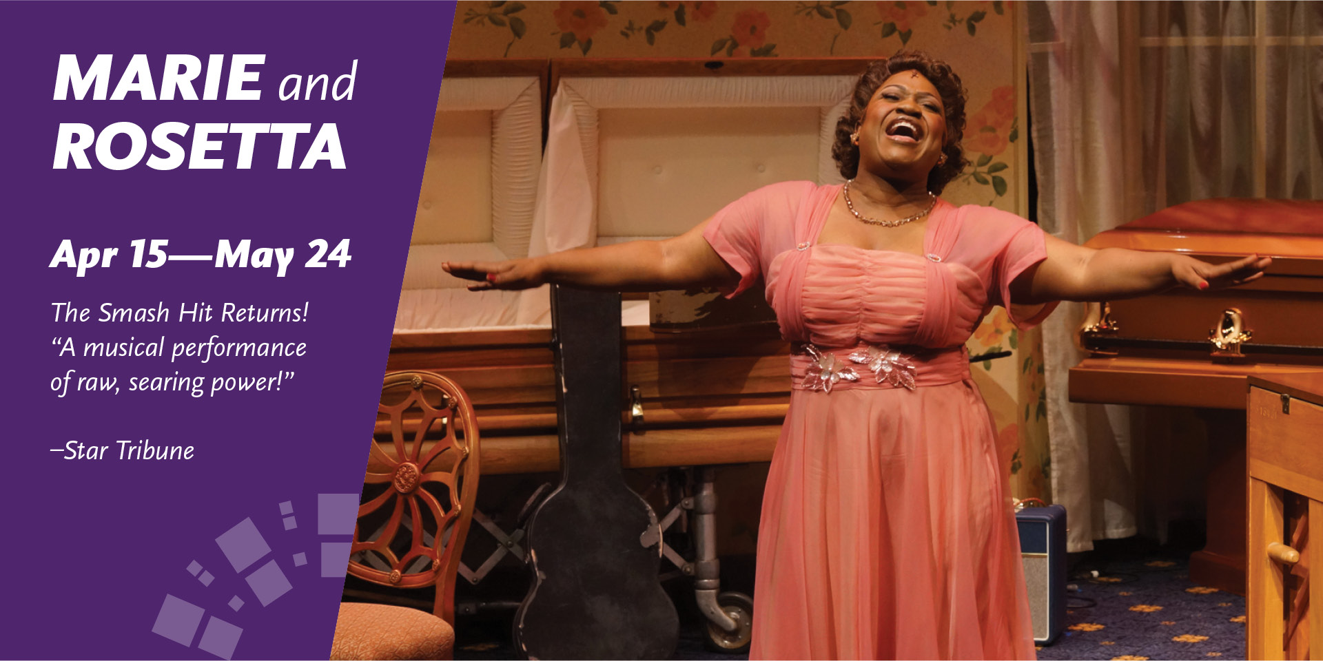 Announcing Marie and Rosetta - Woman who is African American singing near two empty caskets, wearing rose pink dress