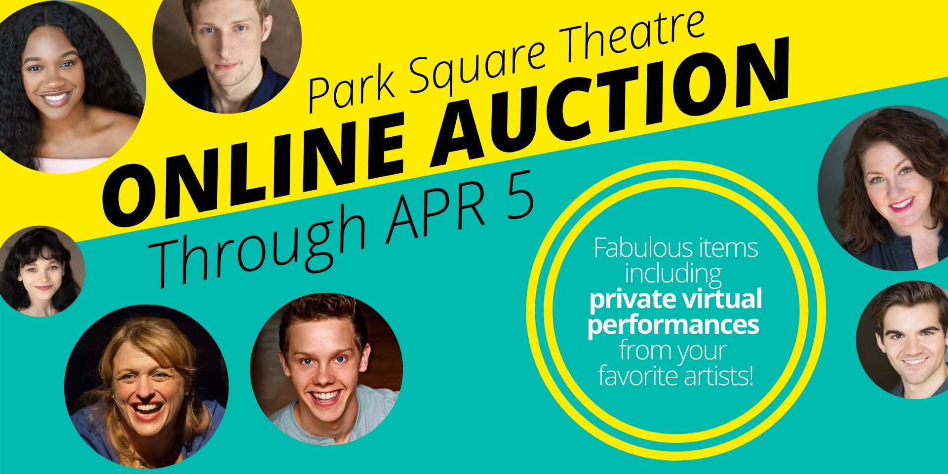 Online Auction text on yellow and turquoise background with images of actors in circles