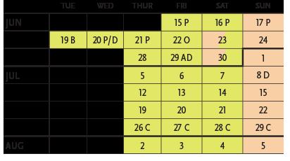 Baskerville Performance Calendar