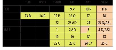 Performance Calendar for Pirates of Penzance