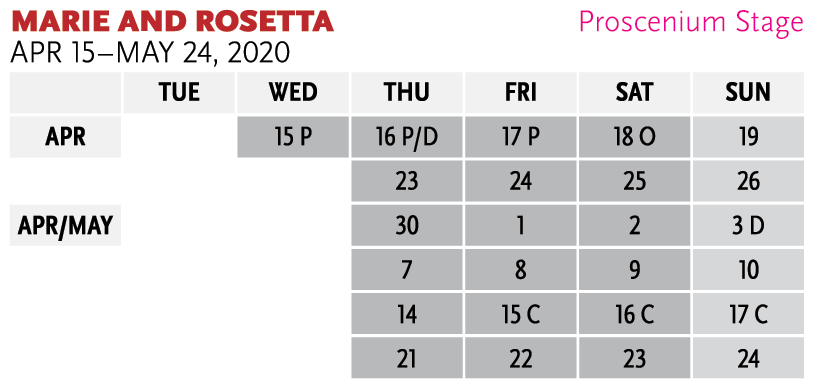 Graphic calendar for Marie and Rosetta - for assistance in ordering tickets, please phone 651.291.7005