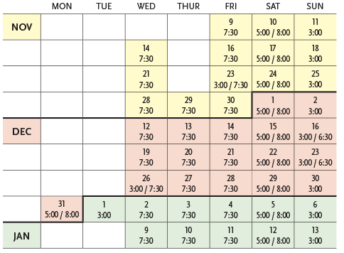 Graphic calendar for Triple Espresso. For ordering assistance, please call 651-291-7005