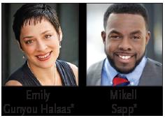 Headshots of Emily Gunyou Halaas and Mikell Sapp