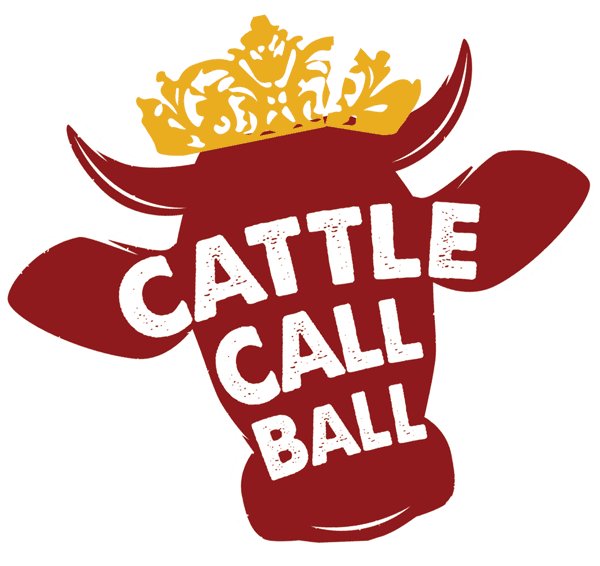 "Deep brick red smiling cow head silhouette with a gold tiara, overlaid white text that reads ""Cattle Call Ball."""