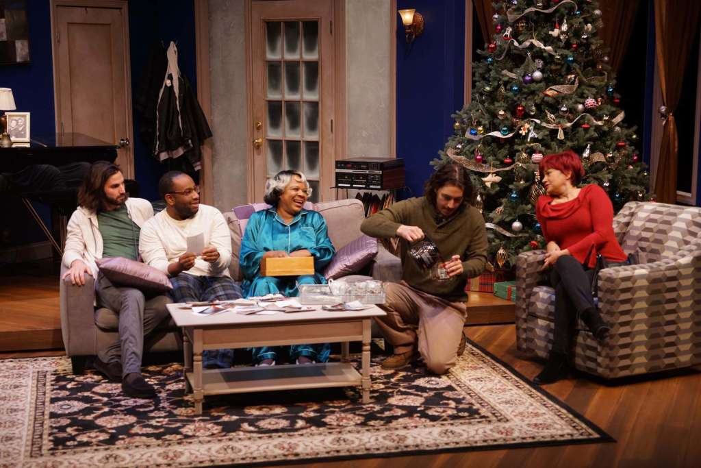 Cast of Dot on Stage in livingroom with Christmas Tree
