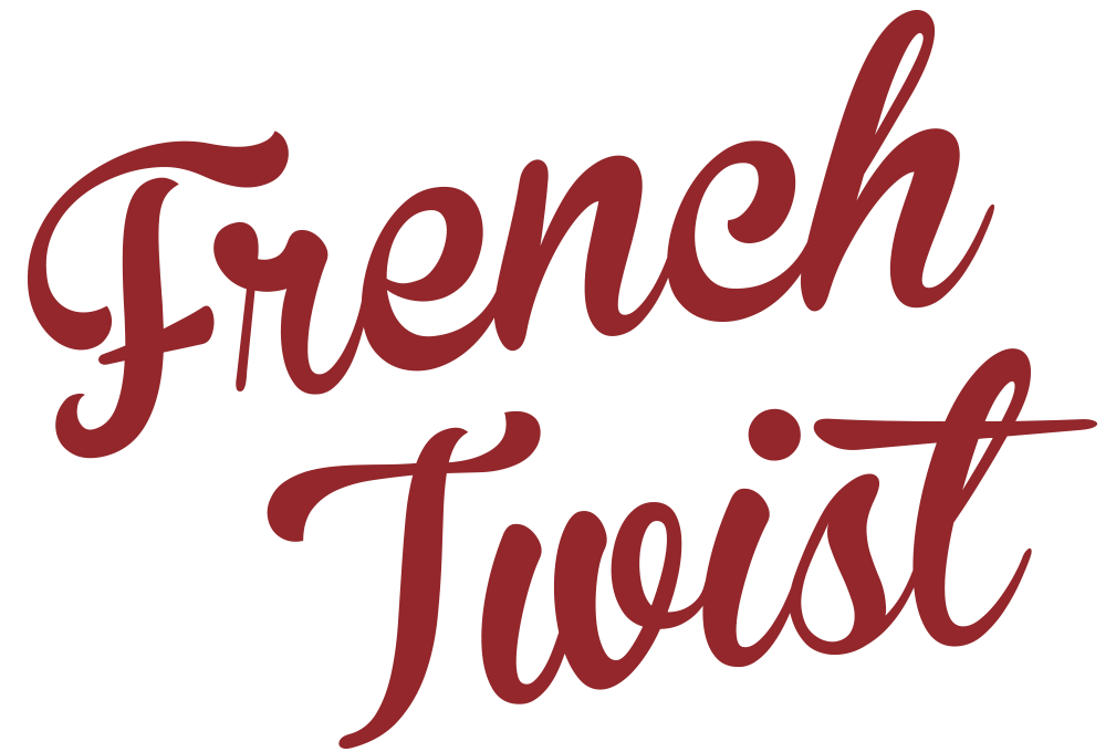 French Twist graphic - dark red script text on white background