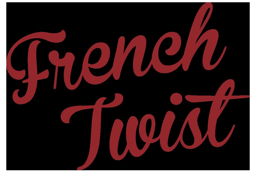 French Twist graphic - dark red script text on white background