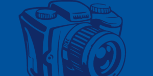 line illustration of dark blue camera on medium blue background