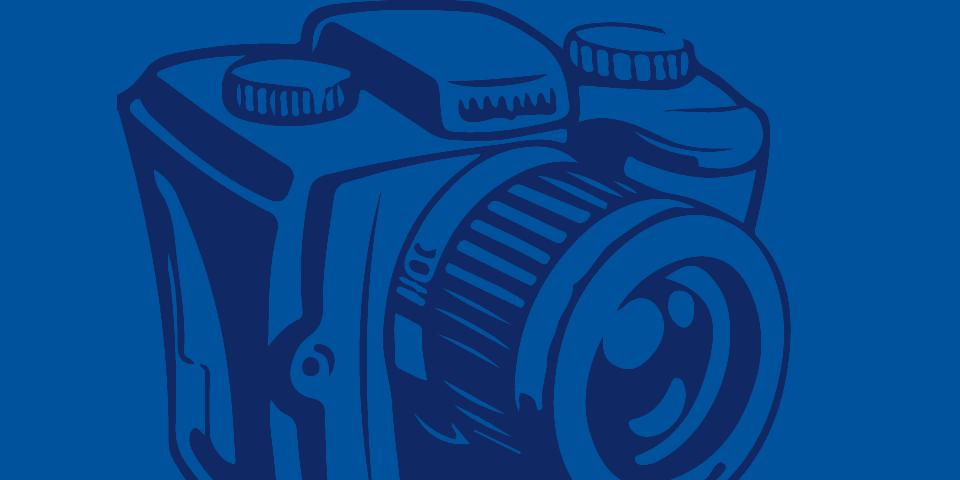 line isllustration of dark blue camera on medium blue background