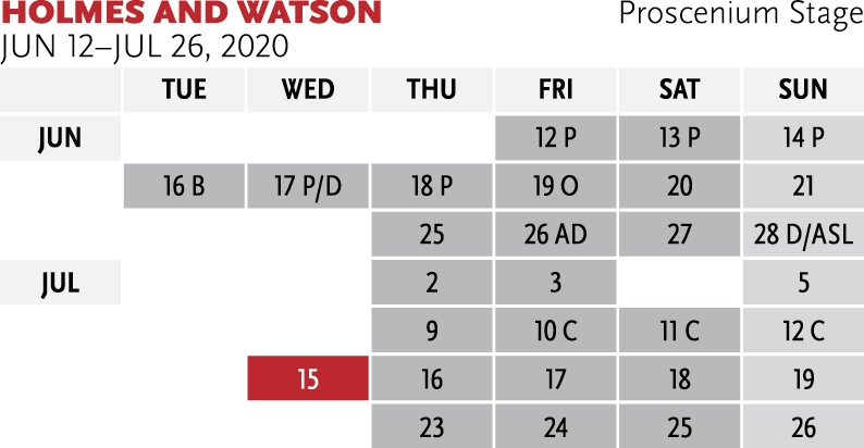 Graphic calendar for Holmes and Watson at Park Square Theatre - for ticket ordering assistance, please call 651.291.7005