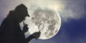 Sherlock Holmes Silhouette on full moon background